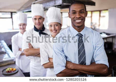 groep · chefs · permanente · keuken · hotel - stockfoto © wavebreak_media