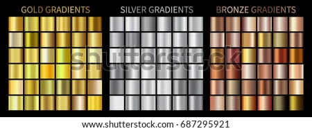 Collection of gold, silver, chrome, bronze metallic gradient. Brilliant plates with gold, silver, ch Stock photo © olehsvetiukha