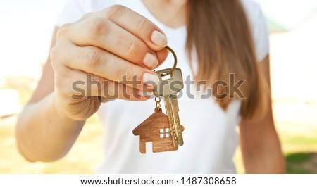 手 キー 女性 木製 ドア 契約 ストックフォト © galitskaya
