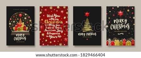 christmas greeting card vector snow globe seasons winter wishes holiday concept hand drawn vint stock photo © pikepicture
