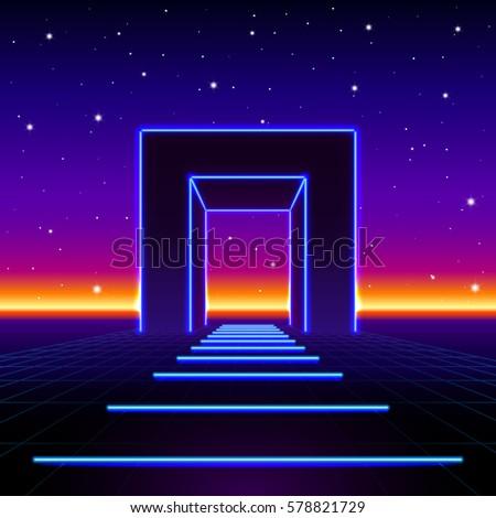 Neon 80s styled massive gate in retro game landscape with shiny road to the future Stock photo © SwillSkill