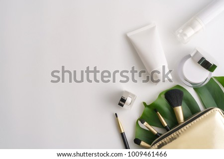 Stock photo: Organic or natural cosmetics. Many jars and bottles with various cosmetic names. Facial skin care. B