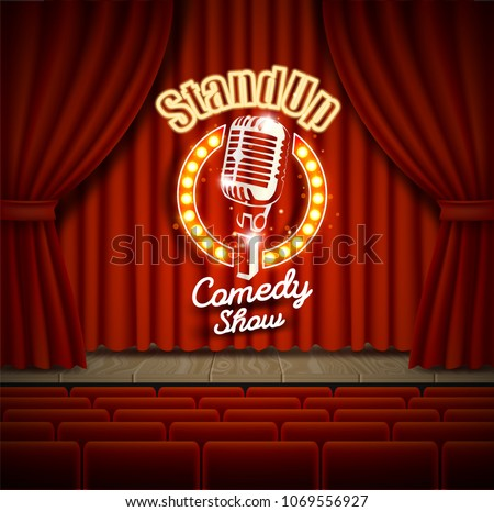 Stoją w górę komedia pokaż mikrofon retro Zdjęcia stock © Winner