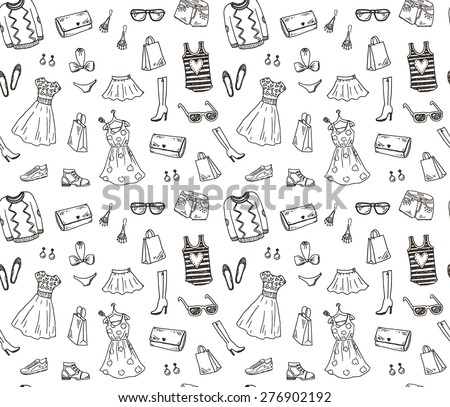 pattern with women fashion clothes and accessories doodle backgr stock photo © margolana