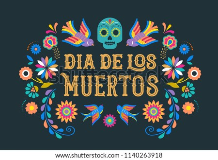 Day of the Dead text greeting card mexican holiday Dia de Muertos Stock photo © orensila