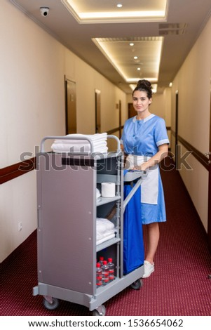Pretty young chamber maid getting clean towels and other stuff in hotel rooms Stock photo © pressmaster