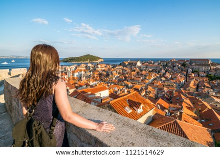 Town of Dubrovnik city walls UNESCO world heritage site aerial v Stock photo © xbrchx