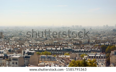 Paris cityscape from steps of the Sacre Coeur basilica in Montma Stock photo © sarahdoow