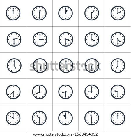 Set of round clocks showing various time with 30 minutes difference. World clock, time zone. Stock V Stock photo © kyryloff