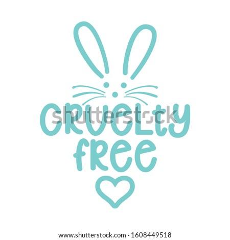 Cruelty free logo with cute bunny - Handwritten label and rabbit dawning.  Stock photo © Zsuskaa