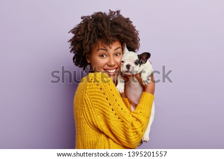 People, pet care and friendship concept. Smiling Afro woman with glad expression cuddles pedigree do Stock photo © vkstudio