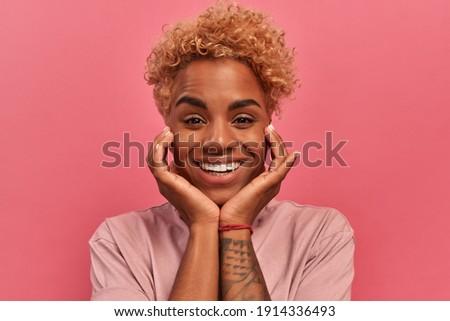 肖像 格好良い アフロ 女性 頬 笑顔 ストックフォト © vkstudio