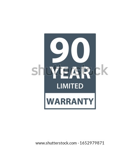 90 years limited warranty icon or label, certificate for customers, warranty stamp or sticker. vecto Stock photo © kyryloff