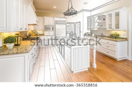 Gyönyörű vám konyha terv rajz befejezett Stock fotó © feverpitch