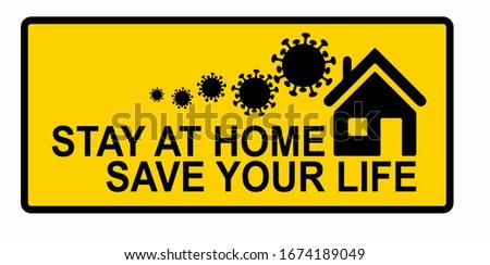 coronavirus covid-19 home isolation symbol on yellow background Stock photo © SArts