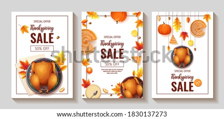 Thanksgiving day. Greeting card with turkey, apples - Vector cartoon Stock photo © natali_brill