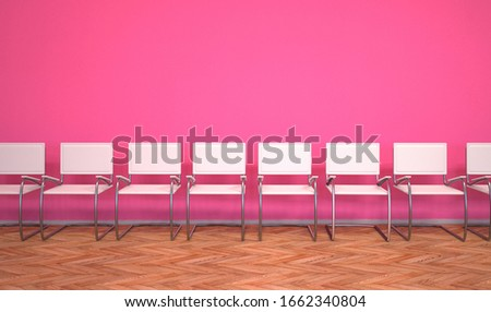 A pink waiting room with white stairs. 3d illustration. Stock photo © limbi007