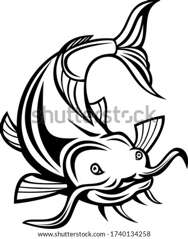 Frente Cartoon blanco negro ilustración peces buceo Foto stock © patrimonio
