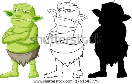 Goblin or troll in color and outline and silhouette in cartoon c Stock photo © bluering
