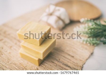 DIY handmade soap natural homemade olive oil bars of soaps easy to do at home with lavender aromas f Stock photo © Maridav