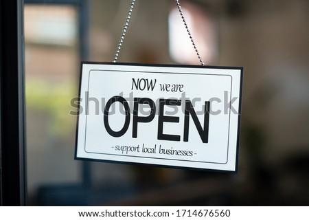 Abrir negócio assinar provérbio bem-vindo enforcamento Foto stock © Maridav