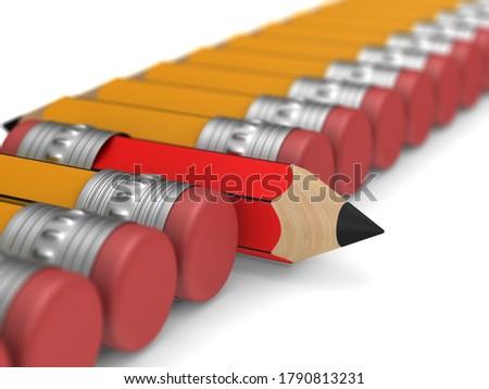Egyedi piros fából készült ceruza radír áll Stock fotó © ISerg