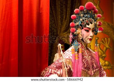 Chinese opera Rood doek tekst ruimte Stockfoto © cozyta
