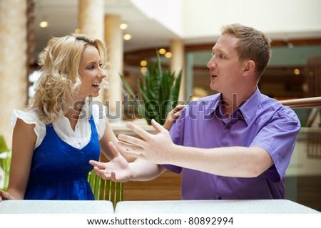 Paar · sprechen · Hängematte · glücklich · sprechen · Sitzung - stock foto © hasloo