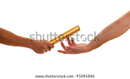 Track and field athletes passing relay baton. Studio shot over white. stock photo © nickp37