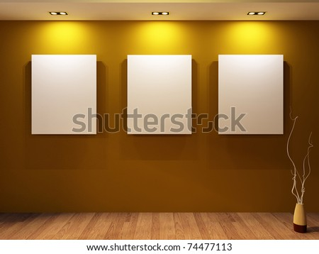 Gallery. Three blanks on a wall and decorative vase on parquet f Stock photo © Victoria_Andreas