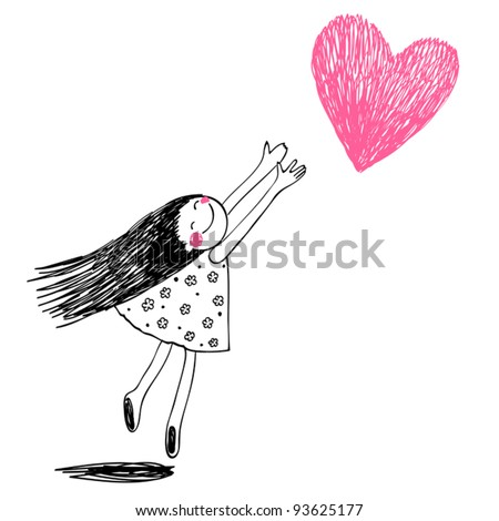 Funny girl with hearts. Doodle cartoon character. Vector Illustration. Stock photo © balasoiu