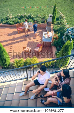 Man talking over the phone in his garden. Stock photo © photography33