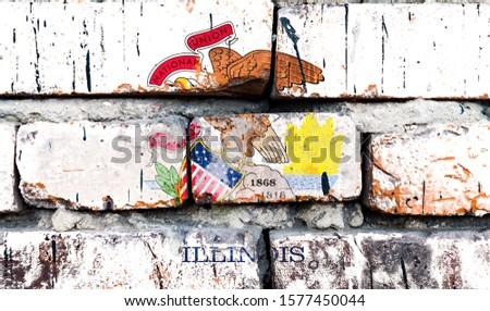 Grunge bandeira Illinois parede de tijolos pintado americano Foto stock © vepar5