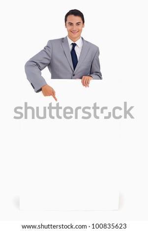 om · îndreptat · alb · poster · zâmbitor - imagine de stoc © wavebreak_media