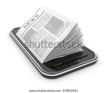 3d illustration: Business news on mobile phone. The group of doc Stock photo © kolobsek