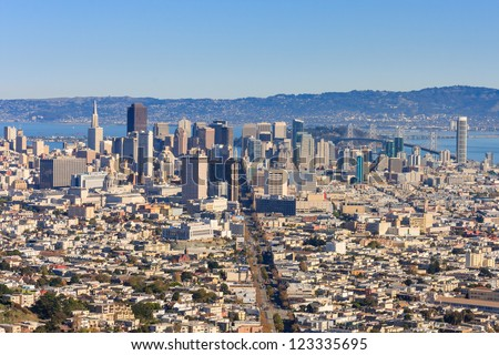 aerial view of market street in downtown san francisco californ stock photo © snyfer