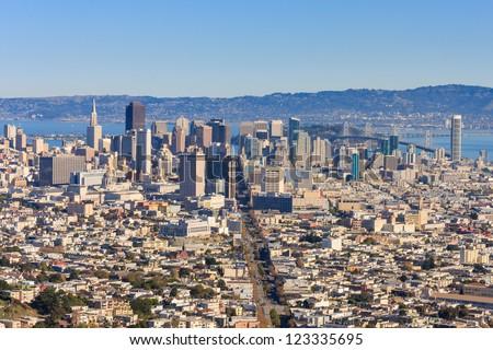 şehir · merkezinde · San · Francisco · pazar · sokak · ikiz · kış - stok fotoğraf © snyfer