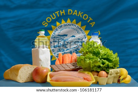 Stock photo: complete waved flag of american state of south dakota for backgr