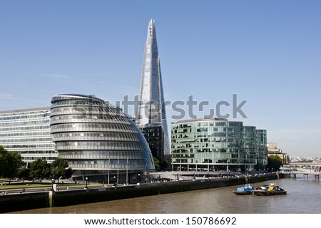 City Hall, the Shard and Tower Bridge Shadow in the River Thames Stock photo © chrisdorney