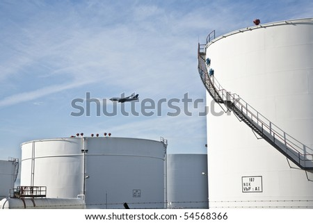 ストックフォト: 白 · タンク · ファーム · 青空 · 航空機 · 青