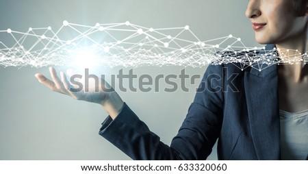 Fiatal üzletasszony adminisztrátor felhő digitális eső Stock fotó © hasloo