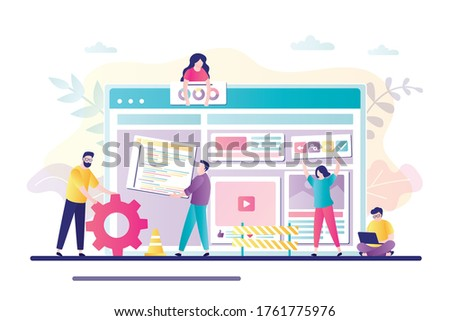 Trendy flat vector website template for company creating mobile applications and responsive websites Stock photo © ussr