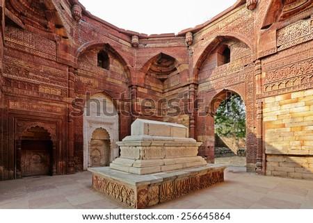 Delhi · tuğla · minare · Bina · şehir · gün · batımı - stok fotoğraf © meinzahn
