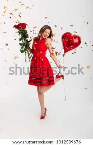 Foto stock: Hermosa · morena · mujer · rojo · corazón