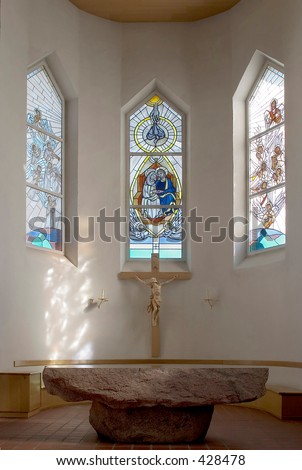 Stained Glass Angels Holy Spirit Basilica Cathedral Andalusia Gr Stock photo © billperry