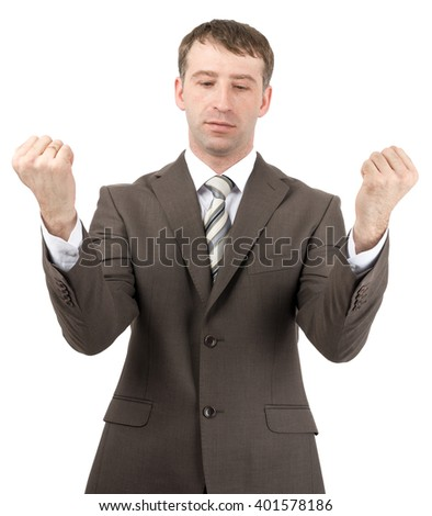 Front view upset Caucasian businessman raising arms in disbelief Stock photo © dgilder