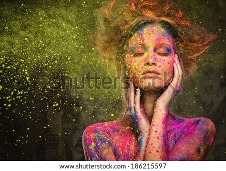 Mulher jovem musa criador arte corporal penteado pintar Foto stock © Nejron