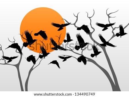Ciemne linii ptaków pływające scary halloween Zdjęcia stock © Hermione