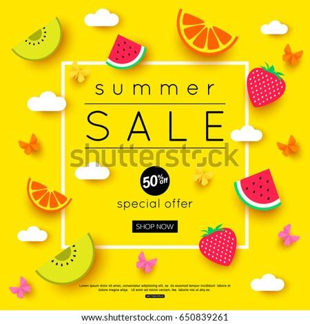end of season sale with summer sun sign yellow and orange drawn stock photo © marinini
