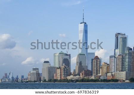 új világ kereskedelem központ üveg épület felhőkarcoló Stock fotó © billperry